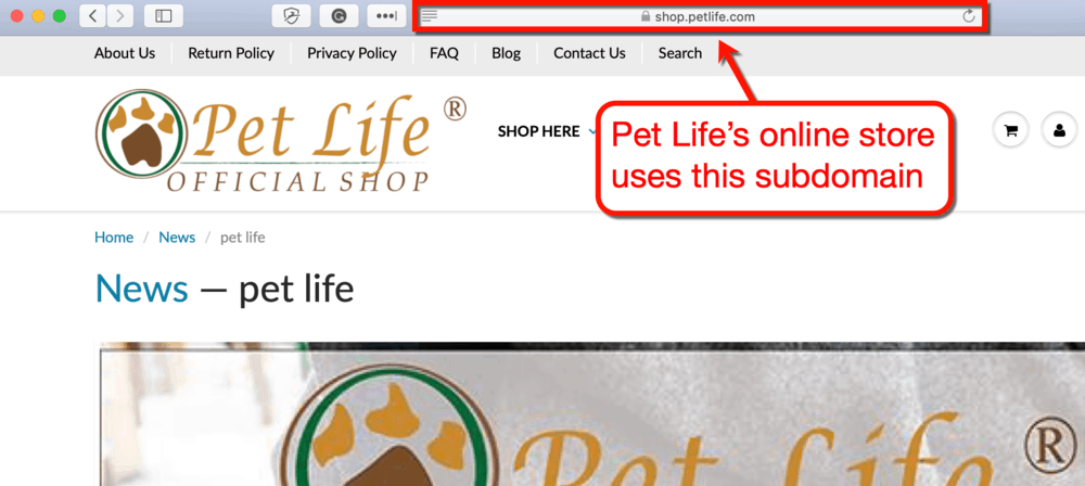 Pet Life Shop Subdomain