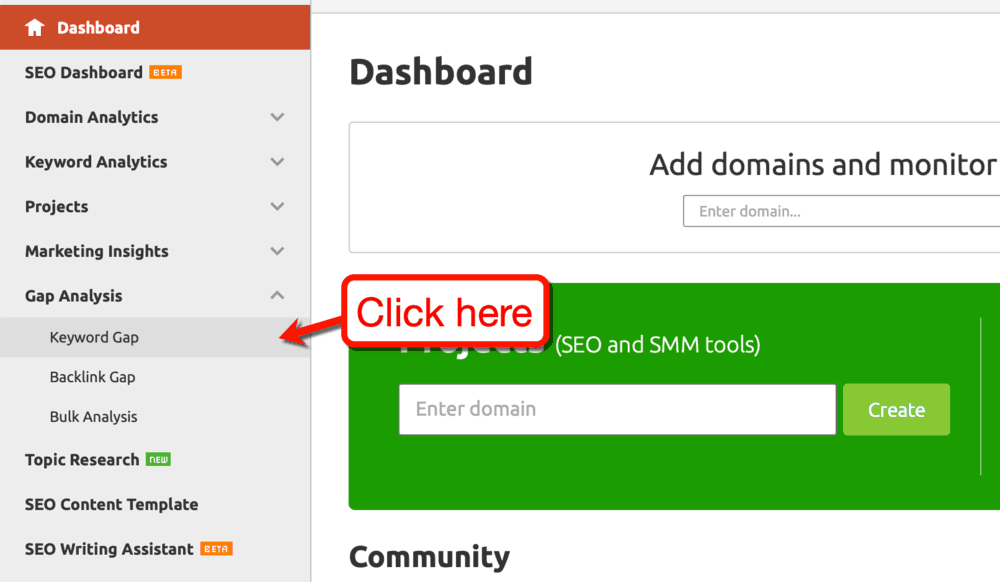SEMrush Keyword Gap Dashboard