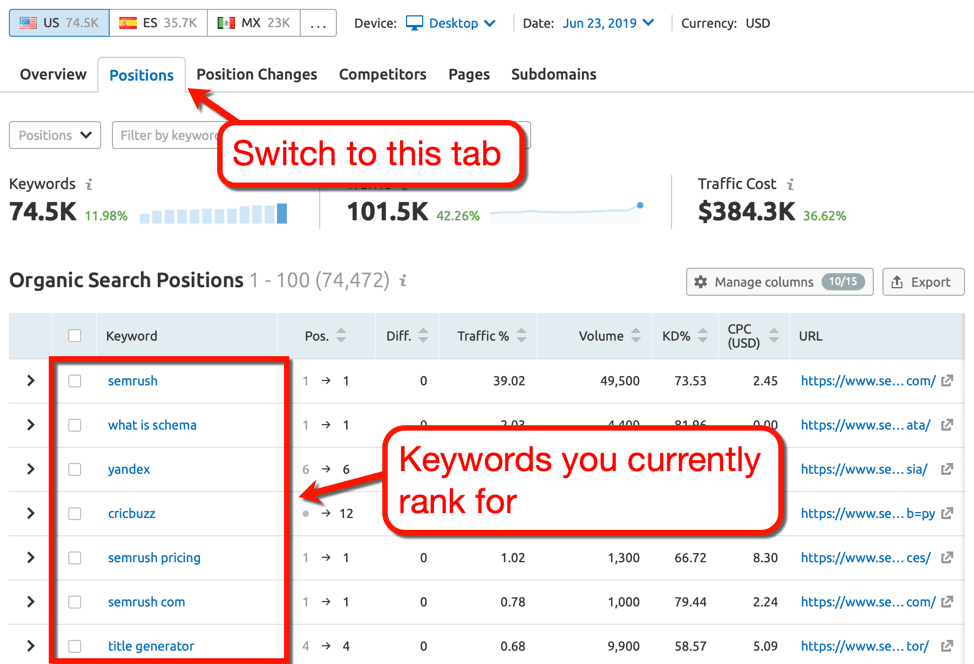 SEMrush Positions Tab Keyword Research