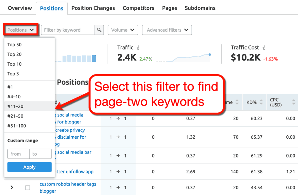 SEMrush Positions Filter
