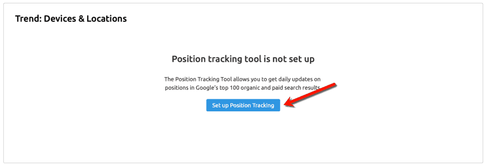 SEMrush Set Up Position Tracking