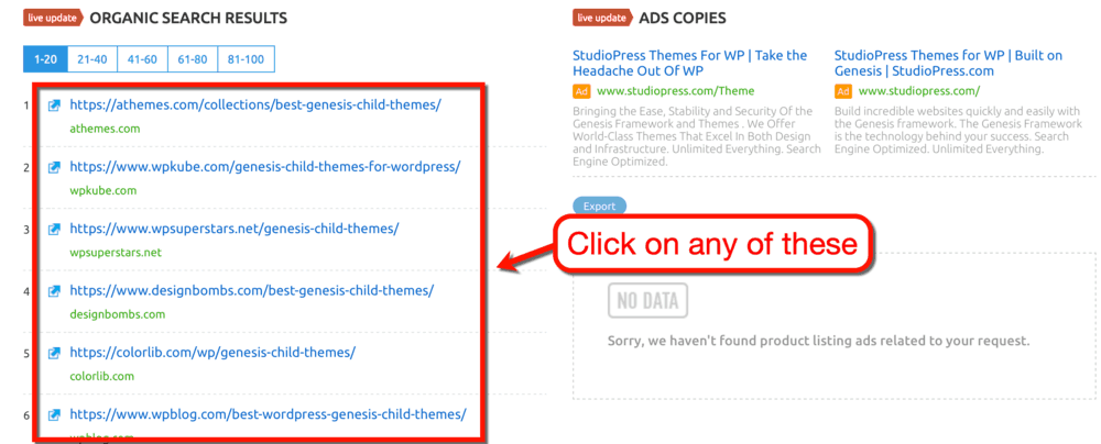 SEMrush Organic Search Results Genesis Child Themes