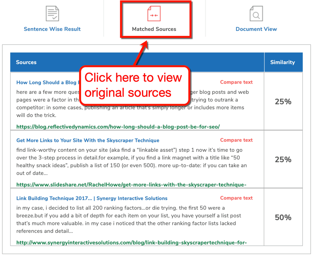 SmallSEOTools Matched Sources View