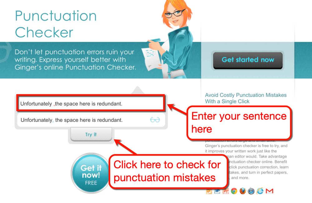Ginger Online Punctuation Checker