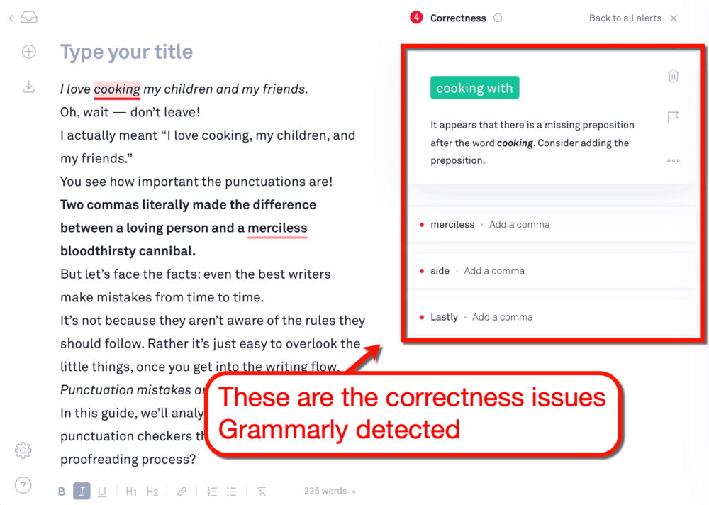 Grammarly Correctness Issues