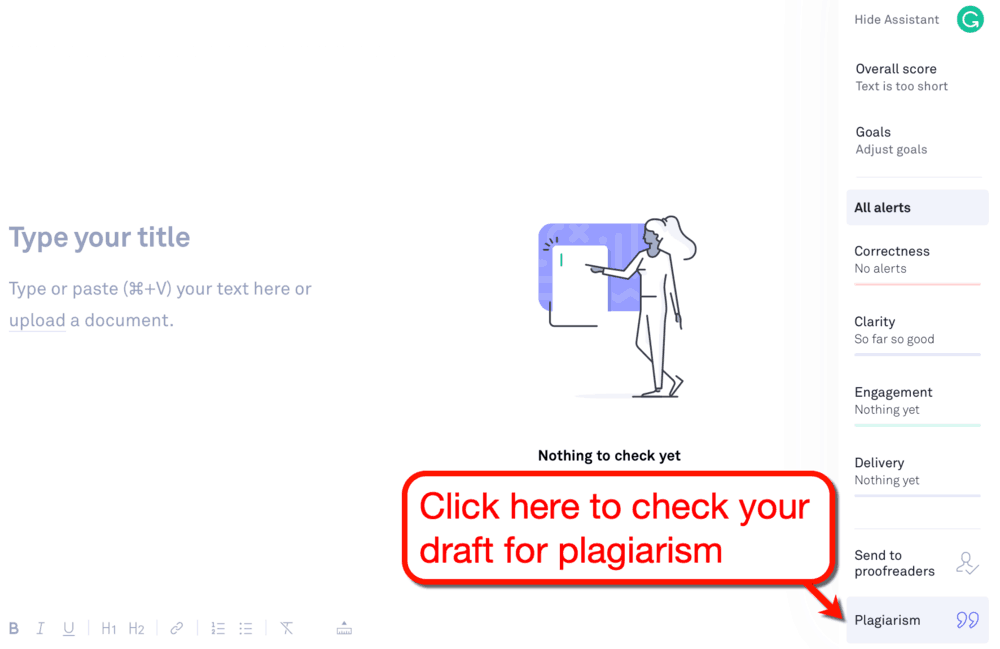 Grammarly Plagiarism Button