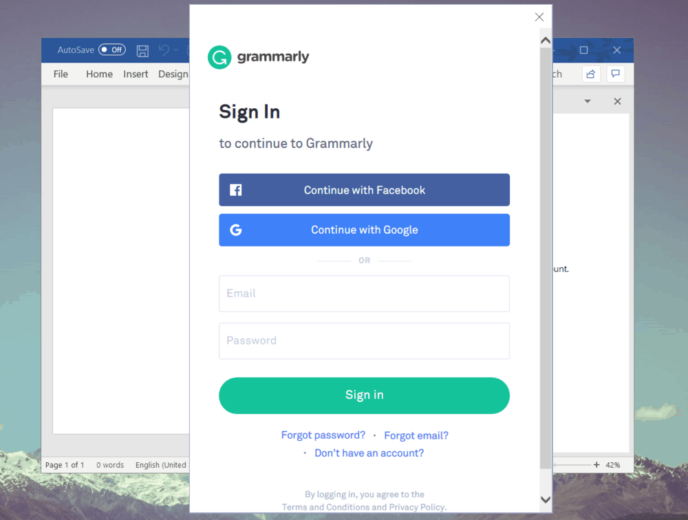 Login to Grammarly MS Office