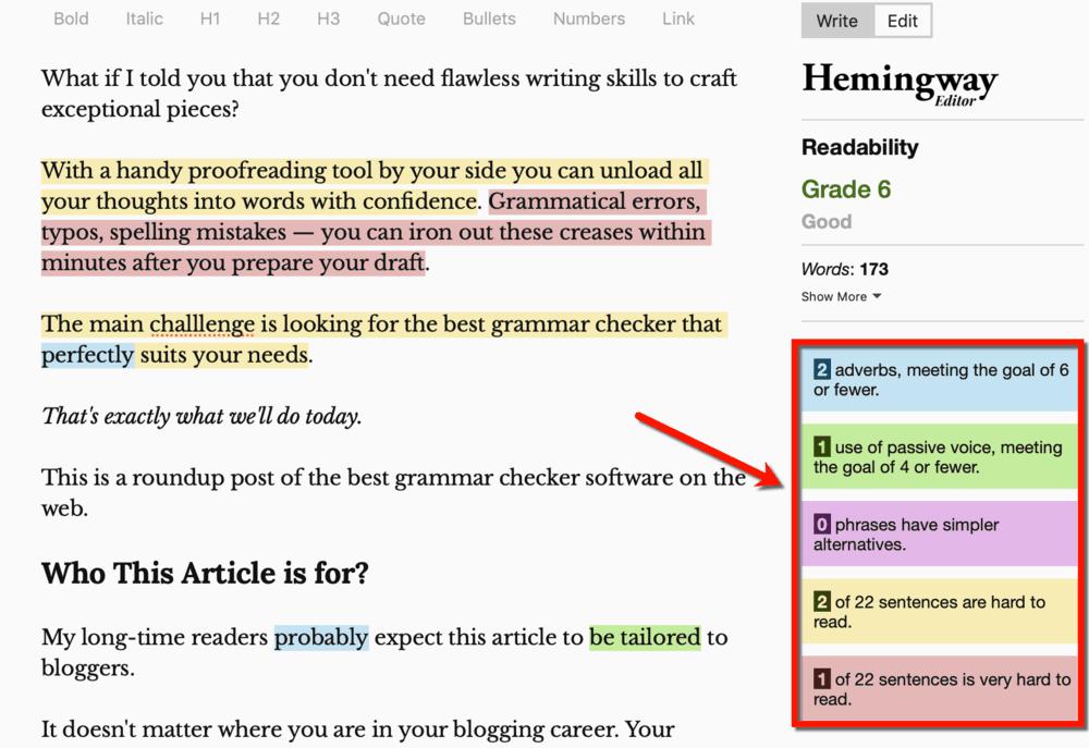 Hemingway Editor Alerts