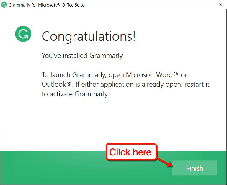 Finish Installing Grammarly