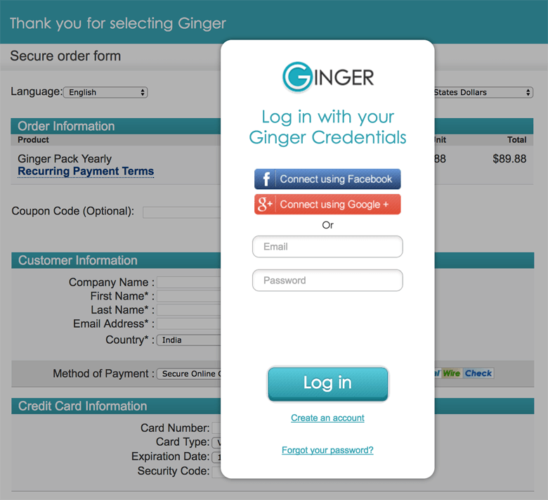 Login with Ginger Credentials