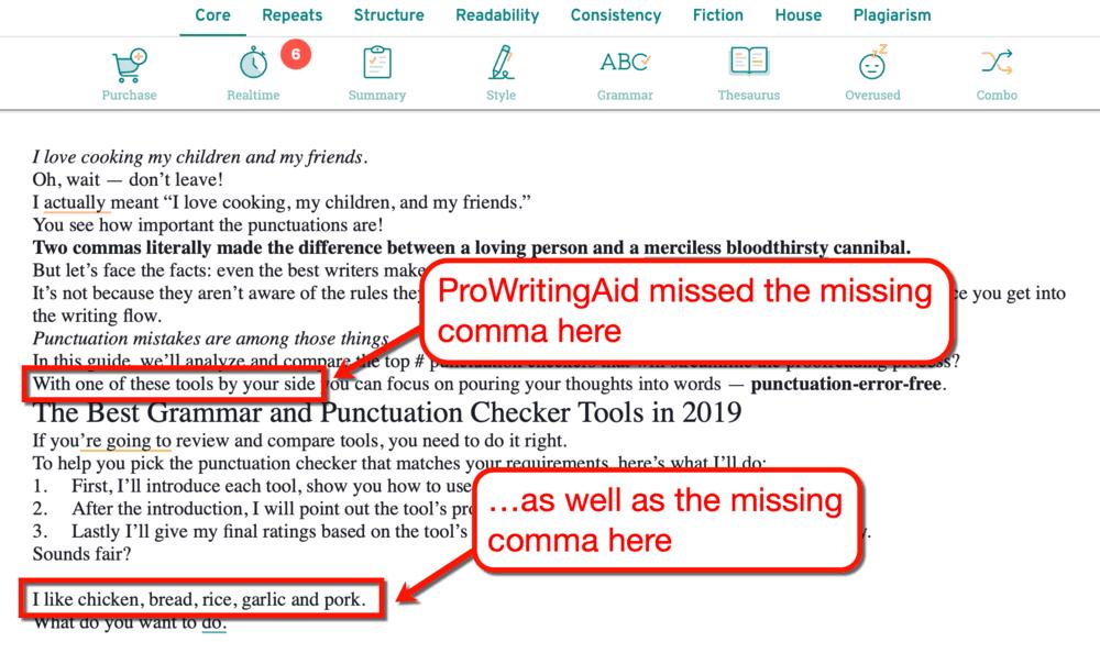 ProWritingAid Missed Errors