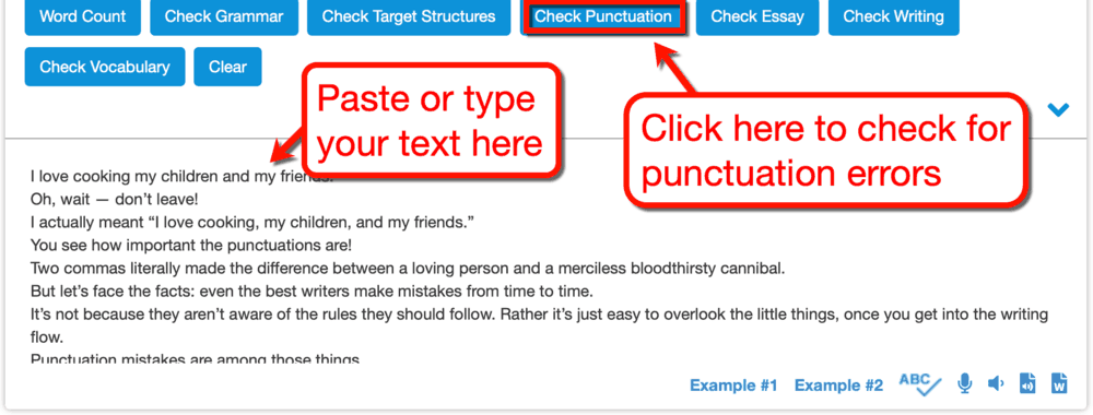 Virtual Writing Tutor Check Punctuation