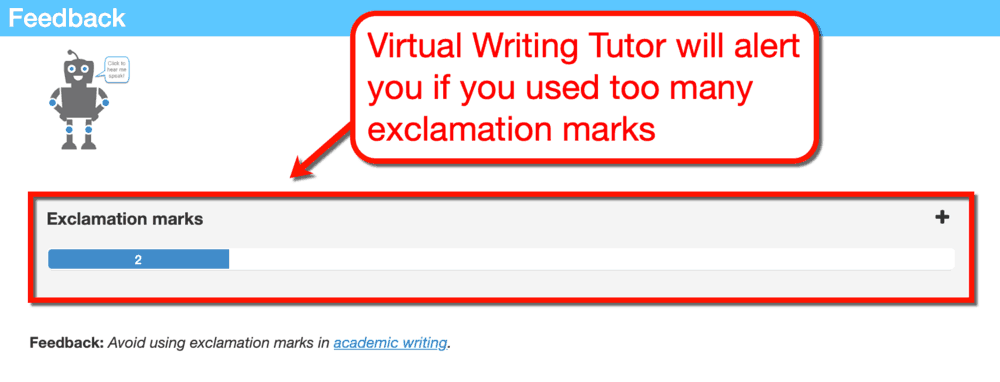 Virtual Writing Tutor Exclamation Marks