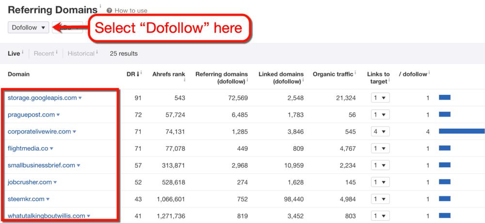 Ahrefs Dofollow Link Filter