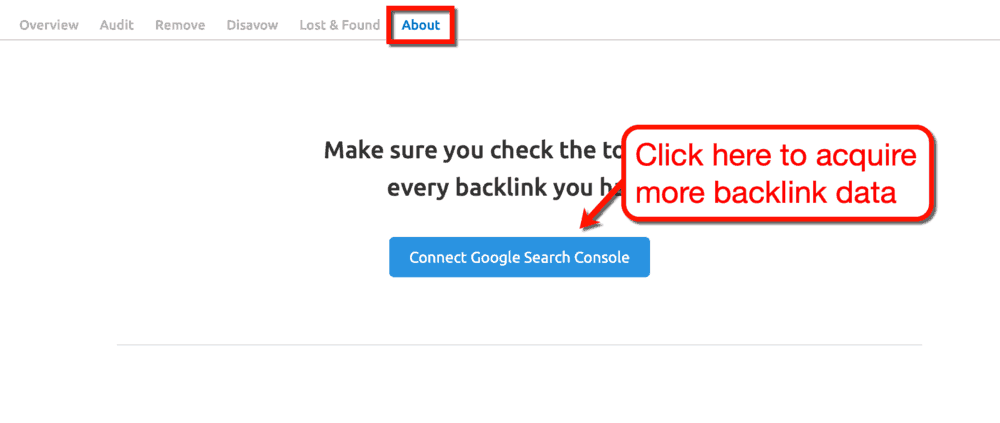 Backlink Audit Tool Connect to Google Search Console