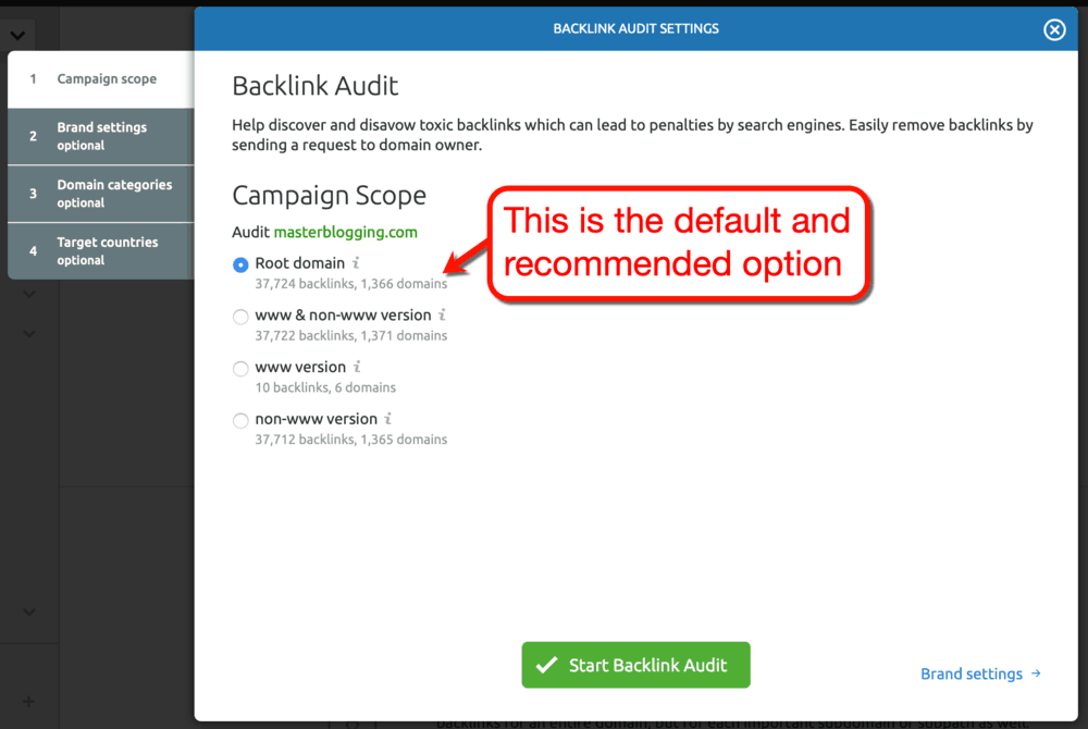 Backlink Audit Settings Default