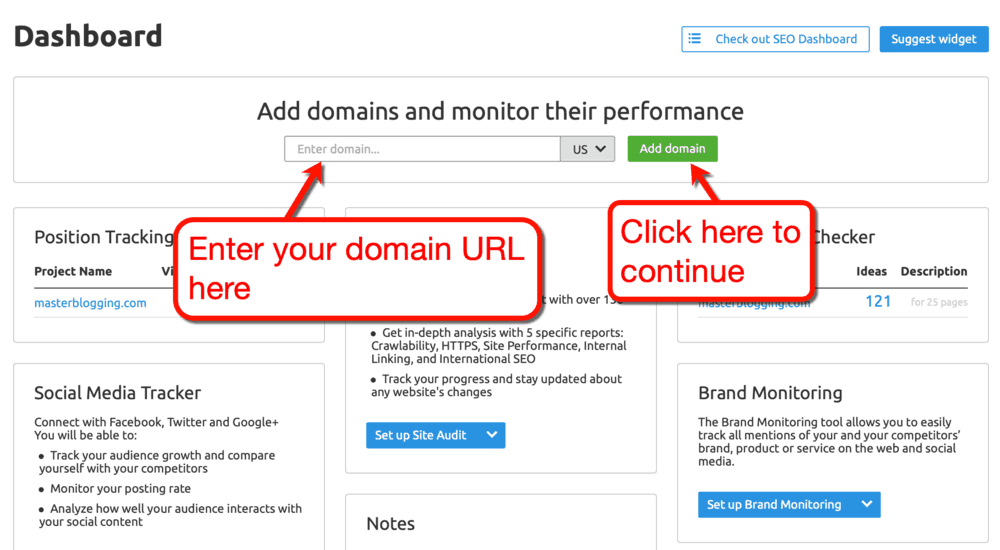 Adding Your Domain to SEMrush