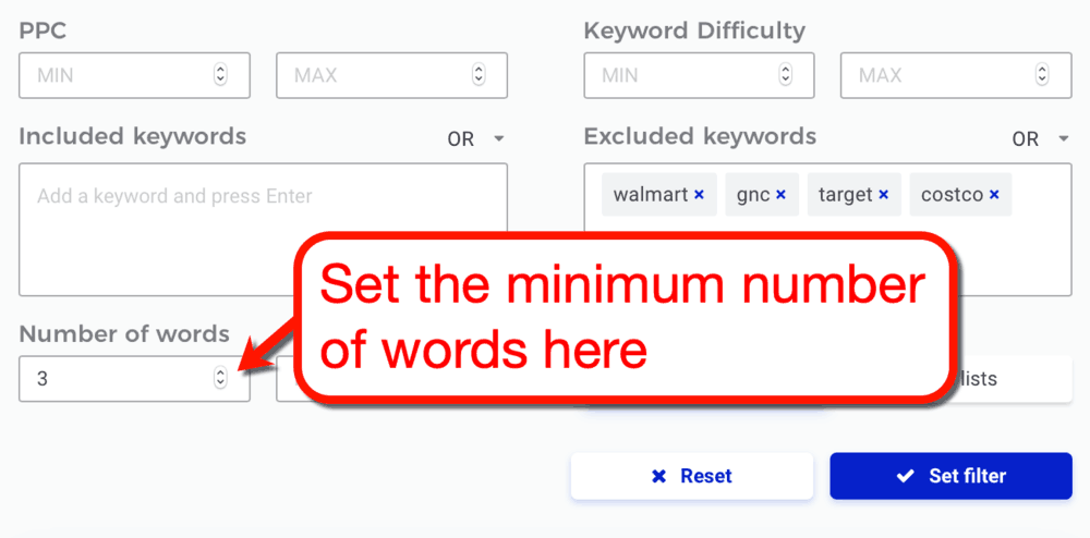 KWFinder Minimum Words Filter