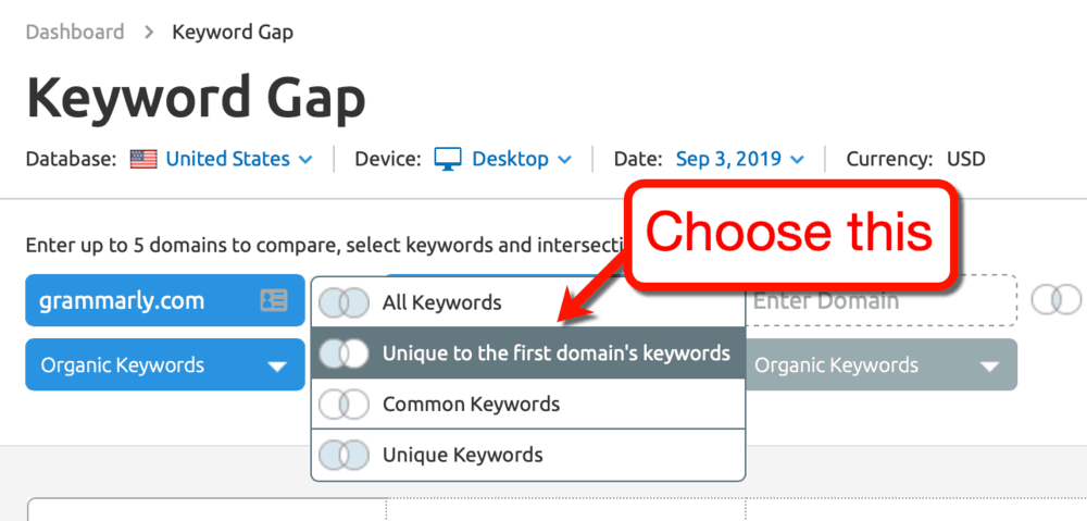 Keyword Gap Comparison Options