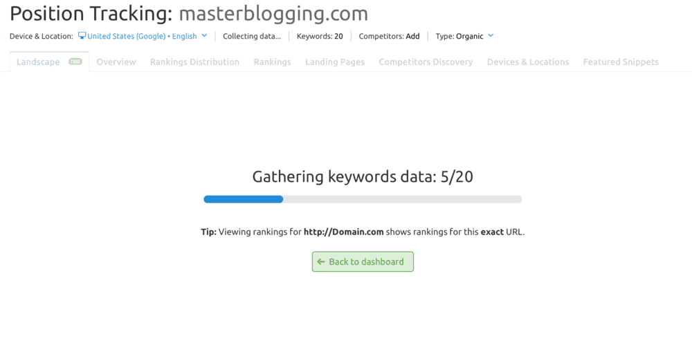 Gathering Keywords Data
