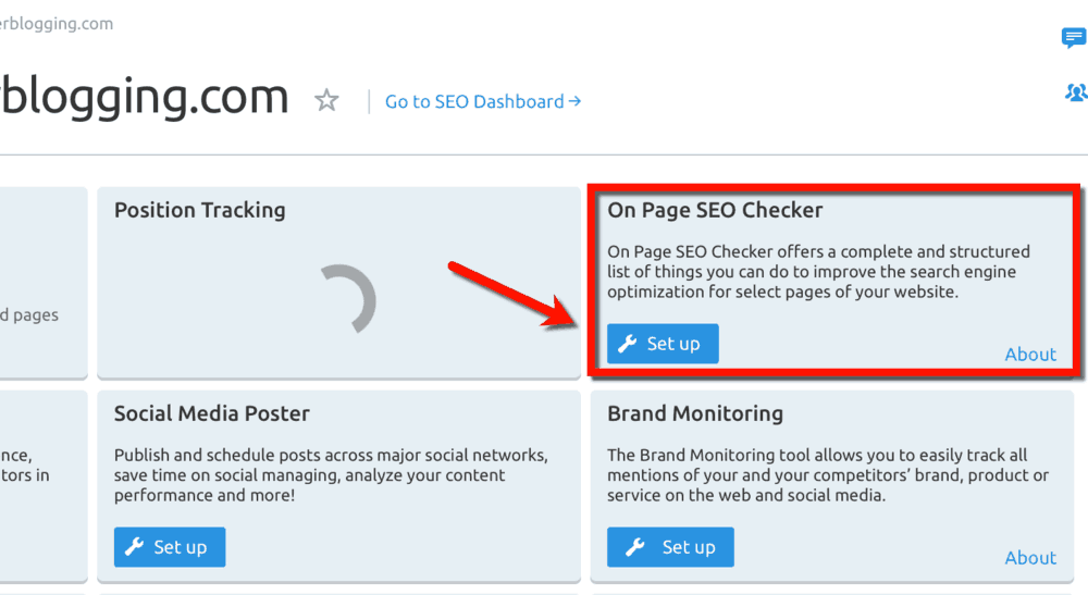 Dashboard On-Page SEO Checker Shortcut