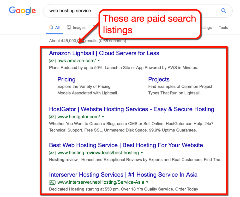 Web Hosting Service Paid Search Results