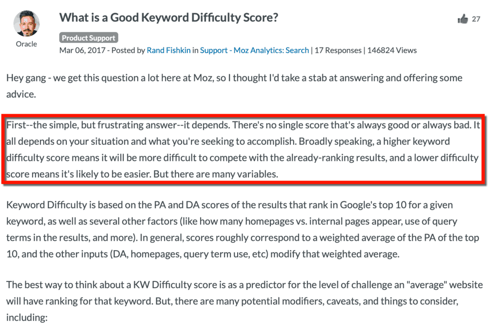 Rand Fishkin Keyword Difficulty Explanation