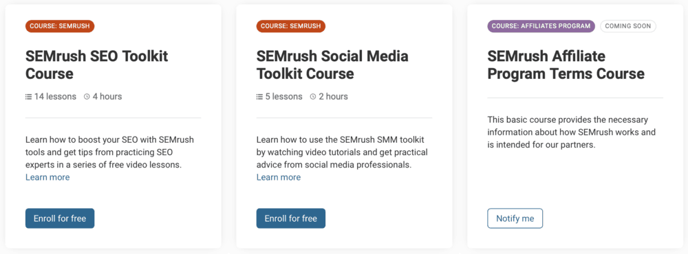 SEMrush Academy Courses