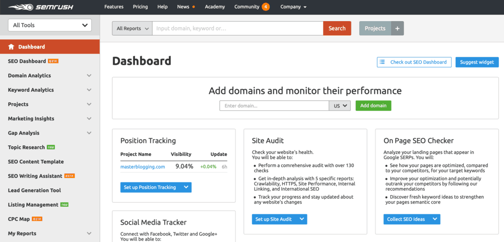 SEMrush Dashboard Tools
