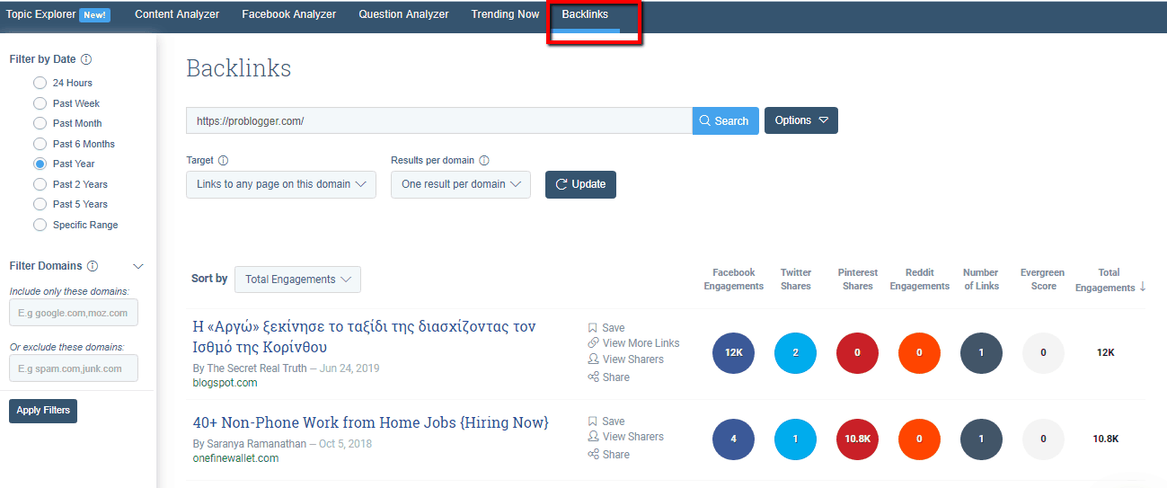buzzsumo backlinks profile
