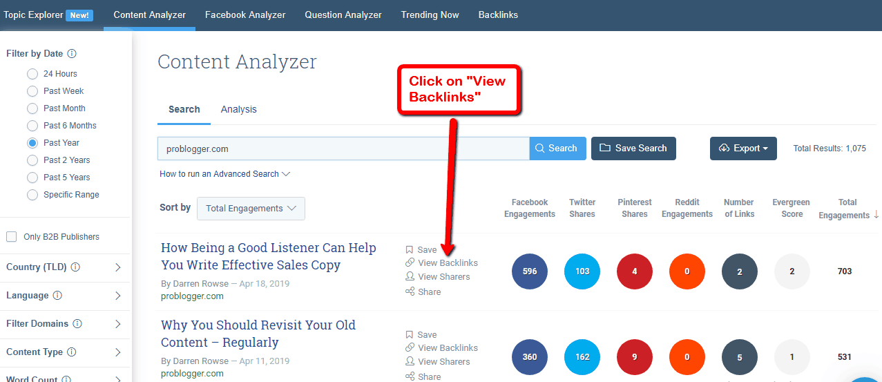 buzzsumo view backlinks