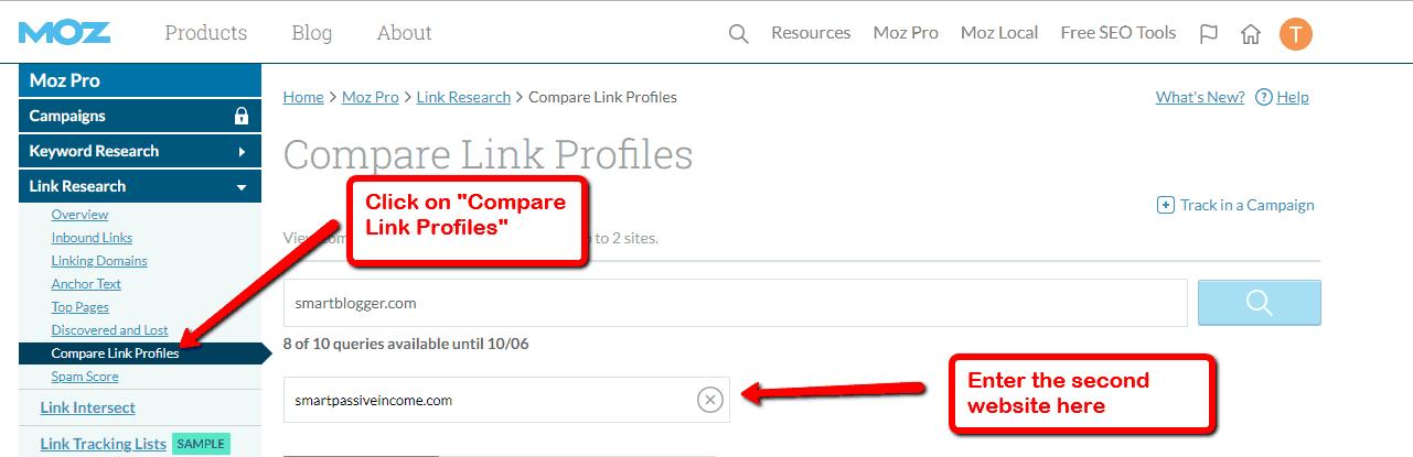 moz compare link profiles