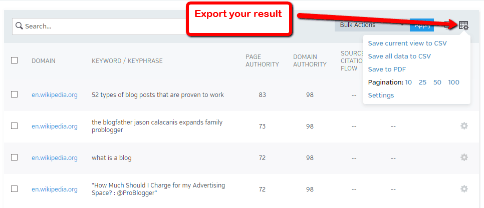 raven tool export results