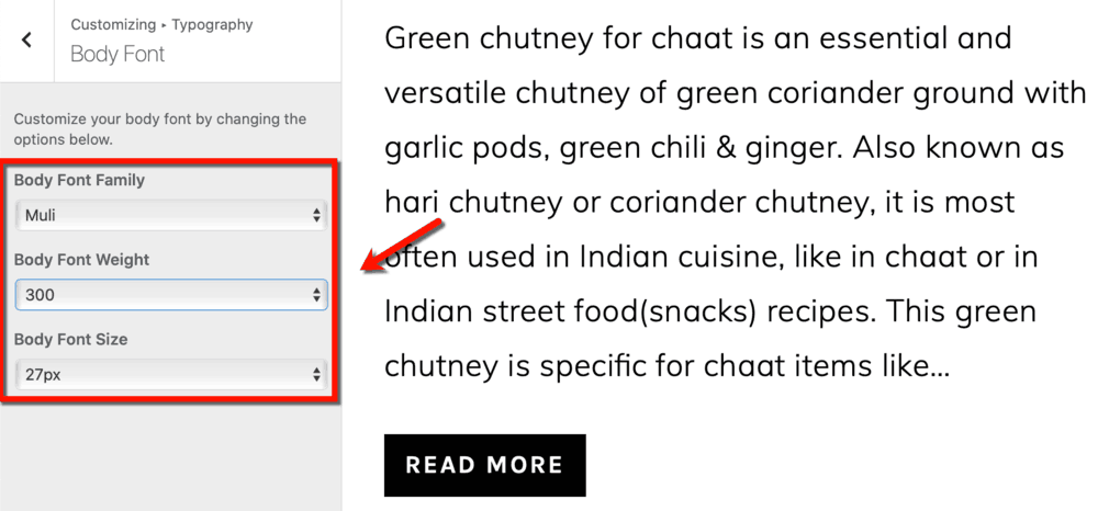 Foodie Pro Font Settings