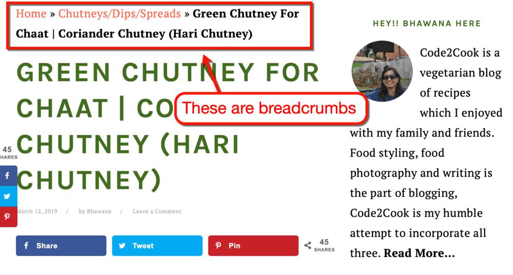 Breadcrumbs on Code2Cook