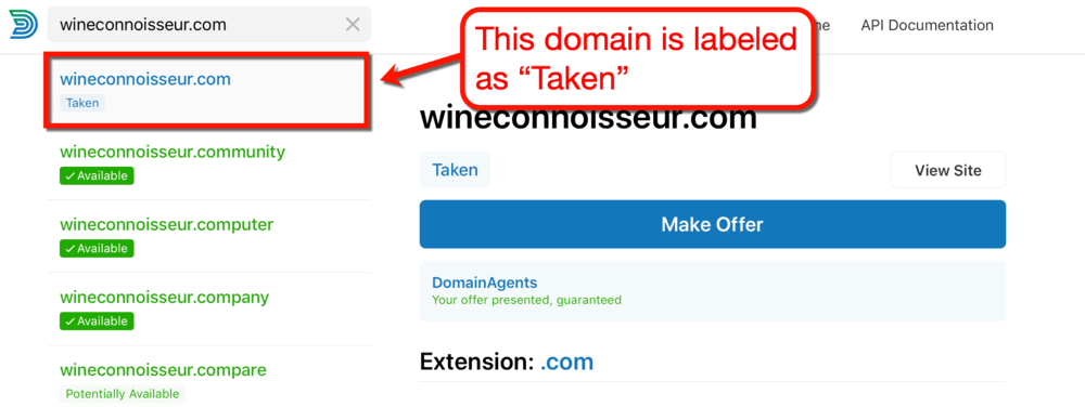 Domainr Unavailable Domain Name