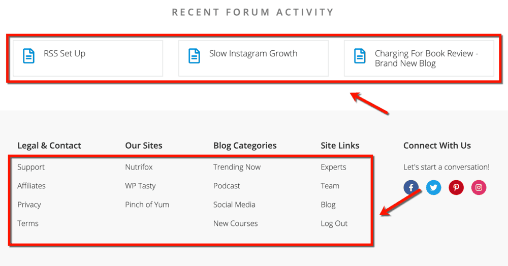 Footer Links and Resources