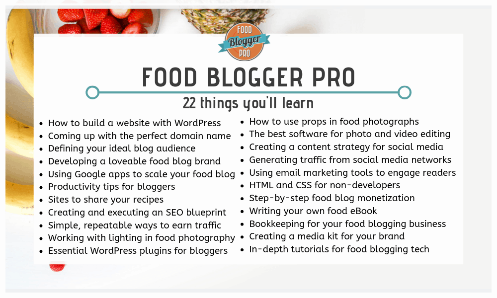 Food Blogger Pro Things You'll Learn