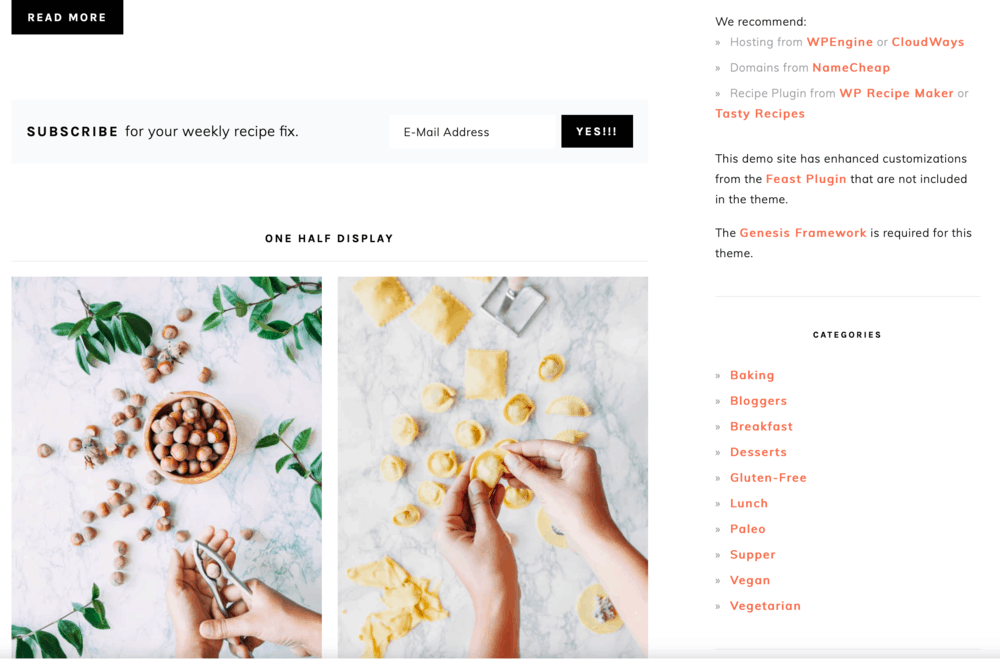 Foodie Pro Theme Default Layout