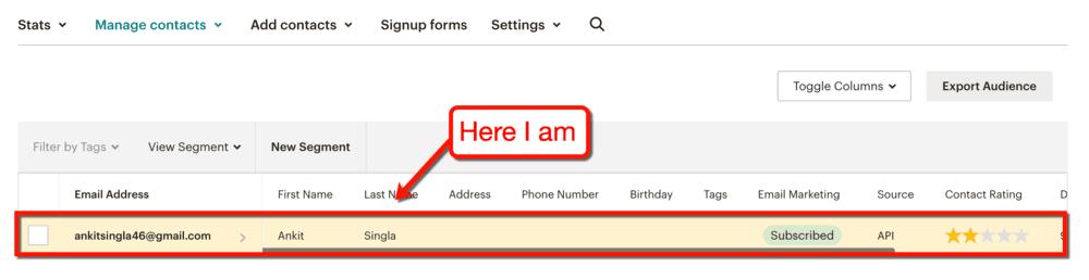MailChimp New Contact Test