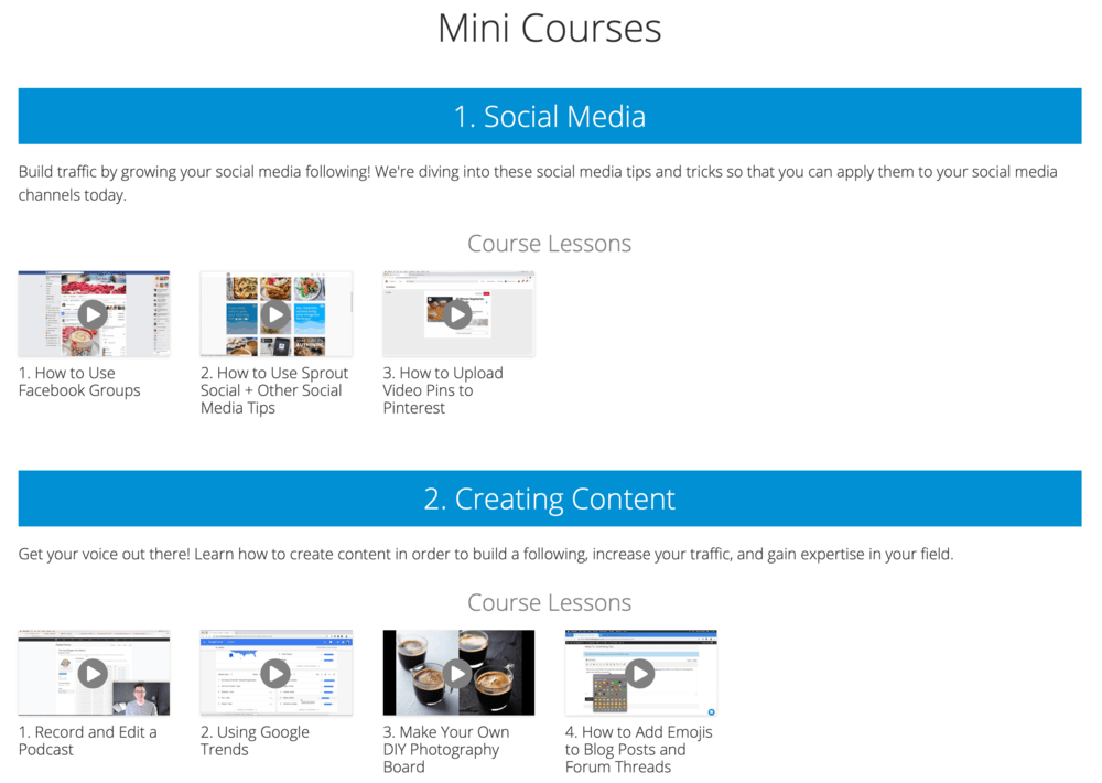 Mini Courses Section