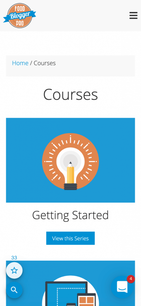 Mobile View Courses Page