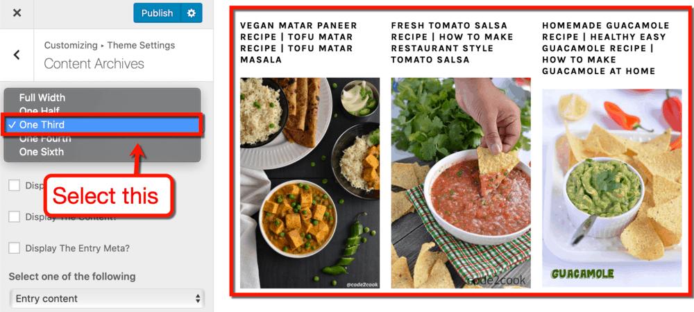 Foodie Pro Grid Display Settings