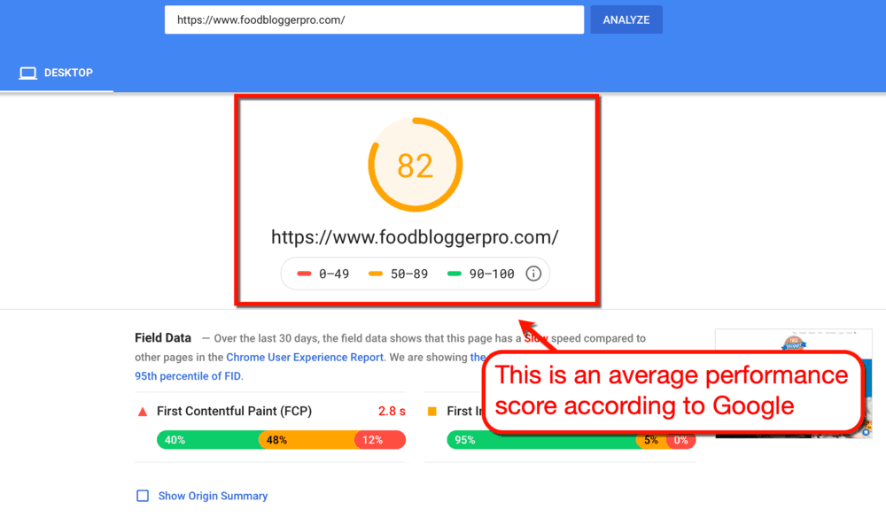 PageSpeed Insights Food Blogger Pro Performance Report