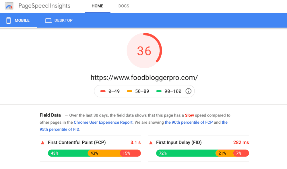 Food Blogger Pro Mobile performance