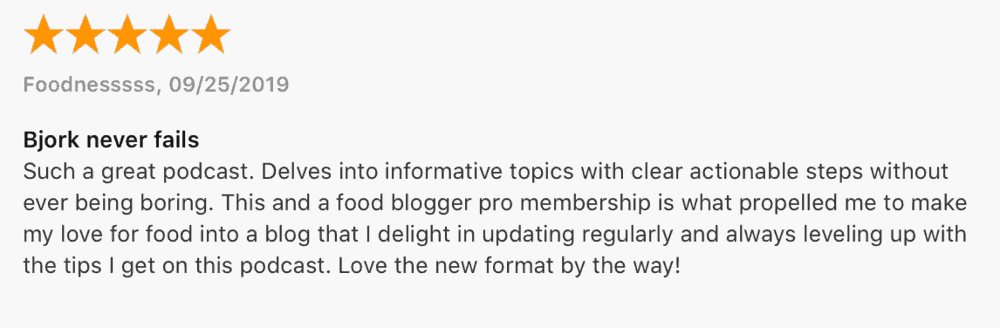 Food Blogger Pro Podcast Testimonial
