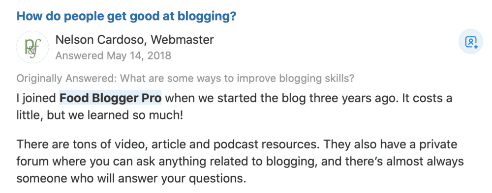 Food Blogger Pro Testimonial on Quora