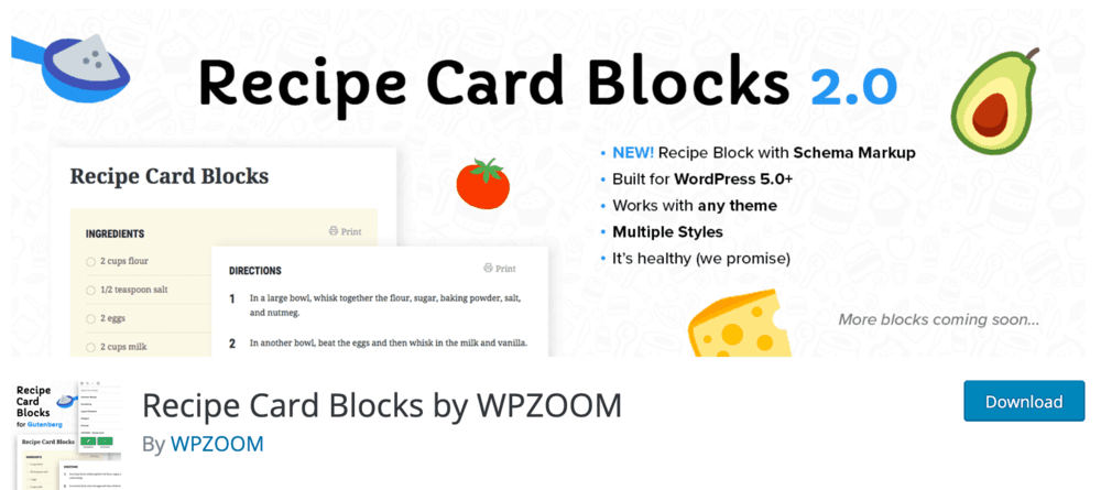 Recipe Card Blocks WordPress Plugin Page