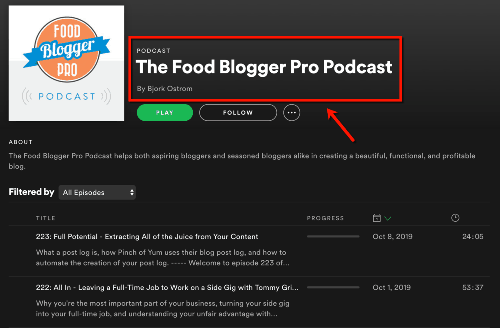 The Food Blogger Pro Podcast on Spotify