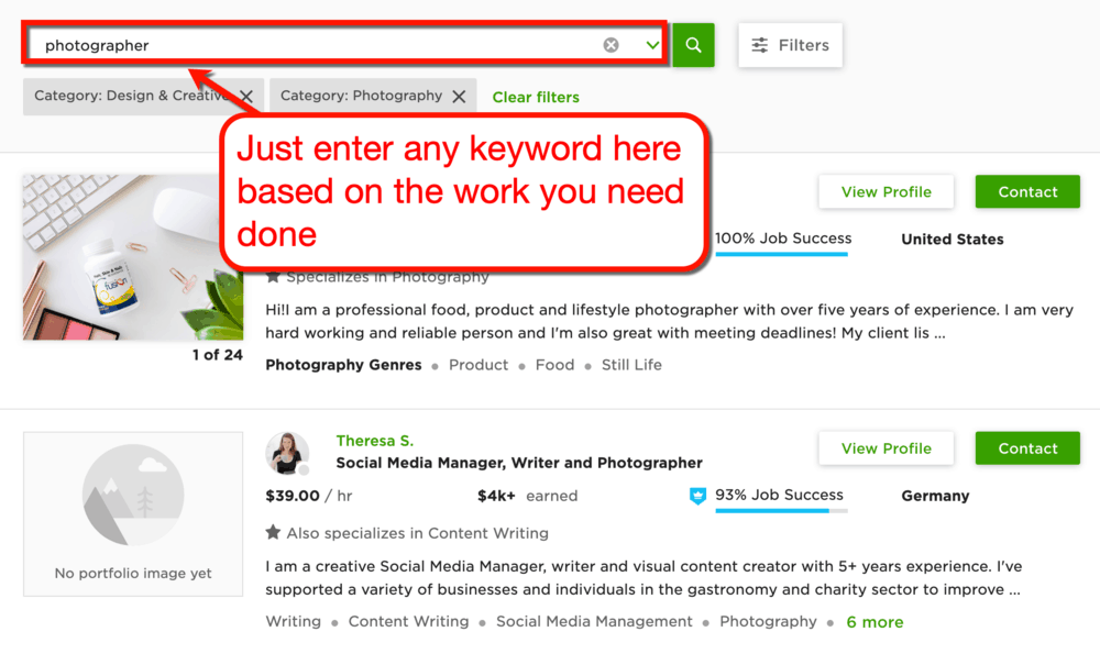 Upwork Photography Freelancers